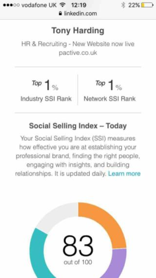 Pactive's LinkedIn Social Selling Score